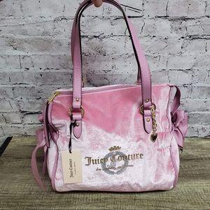 Juicy Couture glitterazi posey pink velour handbag
